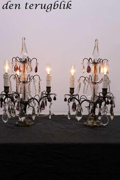 Stel Franse staande lampjes 3 lichtpunten